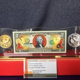 Khung mica 1 tờ tiền và 2 đồng xu may mắn