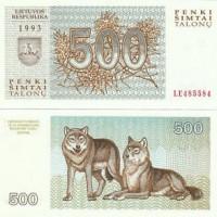 Tiền In Hình Con Chó - 500 Talonu